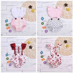 Kids Designer Clothes Infant Girls Summer Rompers Toddler DOT Lace Jumpsuits Baby Cartoon Fly sleeved Rompers Cotton Bodysuit Rompers DYP360