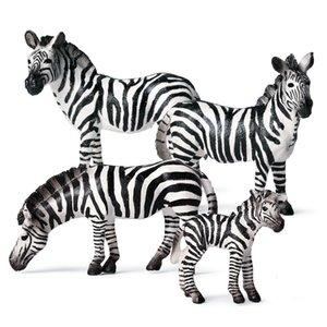 Simulación animal juguete figuras 1 unids mini salvaje zoo granja animal cebra modelo acción figuras de acción para chidlren niños regalo cognitivo juguete Q0413