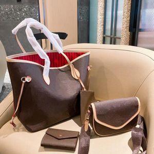 Женская большая способность сумочка 21 Новый дизайнер Ретро Буква Мода мода с STRADDLE POOL кошелек 3-х частей набор WF2101301