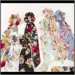 Floral Imprimir Scrunchies DIY Long Streamers Bohemia Fita Hairbands Mulheres Bow Titular Acessórios de Cabelo Cabelo 41Y1c Hunom