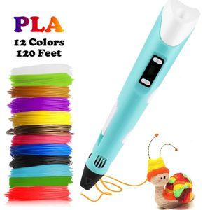 Dikale 3D Printing Pen 12V 3D Pen Pencil 3D Drawing Pen Free 36m PLA Filament For Kid Child Education Hobbies Toy Birthday Gift Y200428