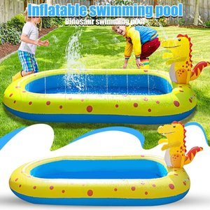 Rectangular Inflatable Sprinkler Swimming Pool Paddling Pool Bathing Outdoor Summer Swimming Pool For Kids 3 In 1 Family Sized X0710