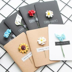 Hand Made Christmas Greeting Dried DIY Vintage Kraft Paper Thank You Cards Anniversary Simulation Flower Card YJ6A R8M5