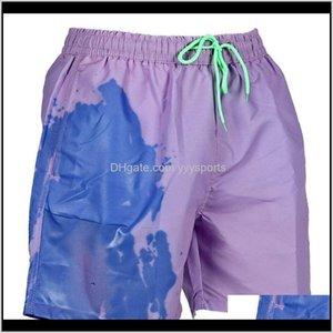 Men'S Swimwear Men Summer Beach Shorts Color Changing Swim Dstring Sport Pants S-3Xl Drop 48Cic I1Sgc