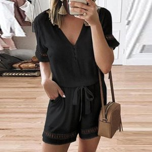 Dresses Casual Summer women's short sleeve V-neck hollowed out Jumpsuit pants with waist closing and loose shorts for women