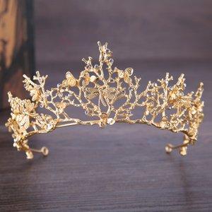 Fashion Crystal Bridal Crown Tiaras Light Gold Tiaras for Women Bride Wedding Hair Jewelry Accessories 79 N2