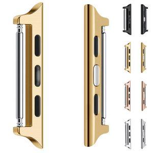 Adaptateur de bretelles en acier inoxydable 2021 Série de montre Apple 5 4 3 2 1 38mm 40mm 42mm 44mm 44mm Bande de bracelet en métal Adaptateur Iwatch boucle Boucle de poignet en aluminium