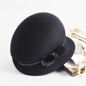 Schatten 100% Australien Wollfilz Fedoras Frauen Herbst Winterkirche Cloche Hüte Elegante Bankett Mink Pelz Fedora Hut