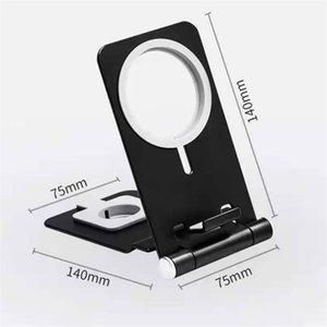 Aluminum alloy magnetic folding portable wireless mobile phone holder stand desktop tablet