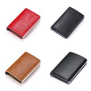 Aluminium Alloy Wallets Solid Color Cortex PU Box Man Ferrule Antimagnetism Card Bag Rectangle Retro Dust Proof 11 5yl O2 9G2I