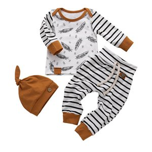 Baby Clothing Sets Boys Suit Girls Outfits Wear Spring Autumn Cotton Long Sleeve Striped Romper PP Pants Hats 3Pcs Toddler Clothes Infant B4732