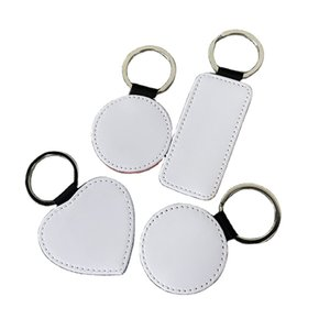 Sublimation keychain Blanks Double White Sided Phone Charm Printing PU Leather DIY Round Heat Rectangle Square Photo blank