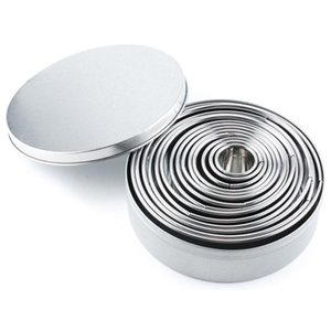 14Pcs Set Round Cookie Biscuit Cutter Set Stainless Steel Mousse Cake Ring Mold Pastry Donuts Baking Moulds