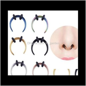 Studs Drop Delivery 2021 Surgical Steel Ox Horn Vintage Hoop Rings Septum Clicker Horseshoe Nose Ear Taper Piercing Body Jewelry Wb63Q