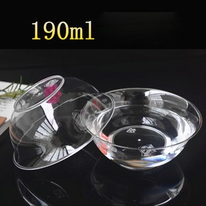190ML Disposable Dinnerware Transparent Plastic Bowl Soup Container Round Lunch Box