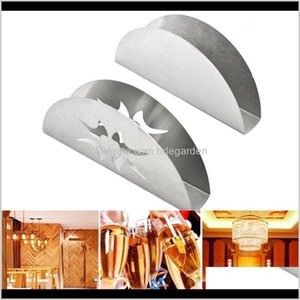 Aessories Kitchen, Dining Bar Home Garden Drop Delivery 2021 Creative Fan-Shaped Sector Flat Stainless Steel Tissue Holder Case Boxes Table D