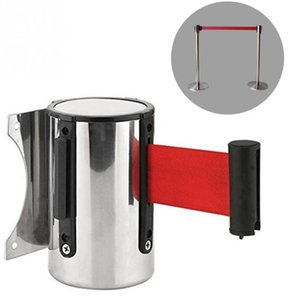 Retractable Ribbon Barrier Crowd Control Outdoor Stainless Steel Wall Mount Red Belt Sport Stanchion Queue 2m 3M 5m