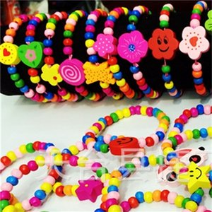 Wholesale 30Pcs kids children wood beads party favor party bag fill wristbands bracelets birthday Gifts present 624 Q2