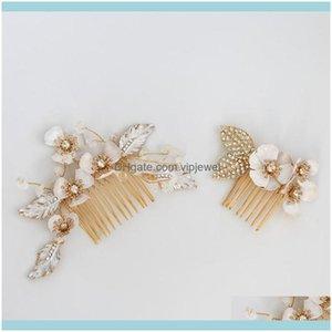Wedding Jewelrywedding Bridal Flower Comb Korean Headpiece Jewelry Women Hair Aessories Headdress Ornament Prom Gold Leaf Head Wear Gift Dro