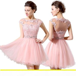 Sheer Neck Short Party Dresses Vintage Lace Applique Beaded Sequin Crystal Mine Hollow See Through Back Cocktail Homecoming Gowns LX011