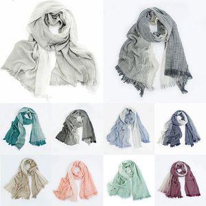 Striped Cotton Linen Gradient Crinkle Scarves Soft Tassel Men Women Scarf Long Shawls Wrap Hijab Scarf Wrinkled Scarves dff0294