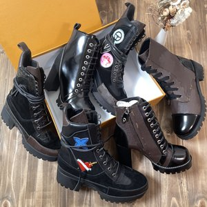 2021 designer women boots Martin Desert boo ts s Flamingo Love Arrow Medal 100% genuine leather thick winter shoes high heel size 35-42