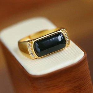 Роскошное золото цветное обручальное кольцо мужское женское ретро черное каменные кольца для женщин мужчины винтажные геометрии циркон вовлечение