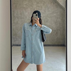 Women's Blouses & Shirts Europe 2021 American Single-breasted Loose Slimming Woolen Casual Denim Shirt Blouse For Women NHML