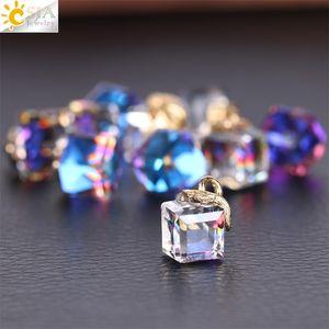 CSJA 10PCS Achados de Jóias Faceted Cubo Vidro Loose Beads 13 Cor Quadrado Forma 2mm Buraco Cristal de Cristal Austríaco para Pulseira DIY 1023 Q2