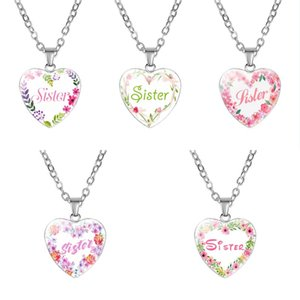 Love Heart Pendant Sister Necklace Personalized Creative Letter Necklaces for Women Girls Sisters Fashion Jewelry Gifts Kimter-P369FA