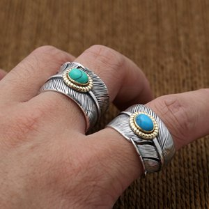 925 sterling adjustable Solitaire rings feather with turquoise stones American Europe antique handmade designer punk gothic Luxury jewelry accessories gifts