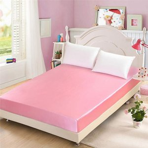 Sheets & Sets 50 Home Textile Satin Silk Fitted Sheet Solid Color 19mm Seamless Queen Size Bed 16 Avaliable