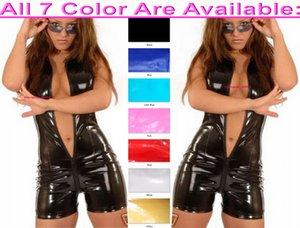Unisex Bodysuit Costumes 7 Color Shiny PVC Short Catsuit Front Long Zipper Sexy Women Men Costume Halloween Party Fancy Dress Cosplay Suit M747