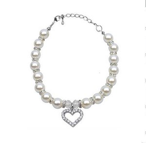 PET Fashion Pet Collar Puppy Dog Cat Pearl Necklace Pet Accessories Love Diamond Pets Dogs Cats Collar & Ldads Jewelry