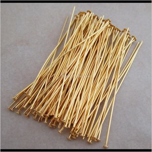 Findings Components Drop Delivery 2021 400Pcslot Gold Plated Connectors Head Pins Finding Needles Jewelry Makeing 56Fum