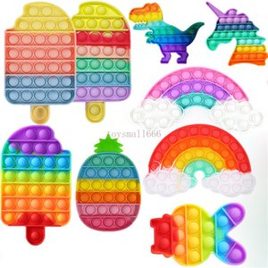 Styles Popular Summer Desktop Fun Helado con forma de helado Burbuja Fidget Toys Toys Silicone Anti Stress Children Adults Striever Reliever Squeeze Board juego