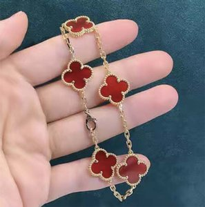 5 Colors Fashion Classic 4 Four Leaf Clover Charm Bracelets Bangle Chain 18K Gold Agate Shell Mother-of-Pearl for Women&Girls Wedding Mother's Day Jewelry Women GifEI