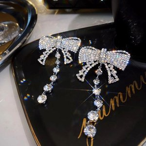 Dangle & Chandelier Trendy Exaggeration Crystal Big Bowknot Earrings For Women High Quality Jewelry Shiny Zirconia S925 Needle Party Gif