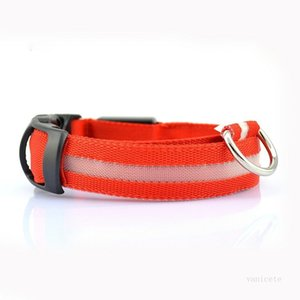 Polyester Pet Dog Collar Night Safety LED Light Flashing Glow in the Dark Small Pet Leash Dog Collar Safety CollarT2I51888