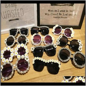 Favor Event Festive Supplies Home Garden Drop Delivery 2021 7 Design Fashion Women Retro Rhinestone Flower With Pearl Beach Party Sunglasses
