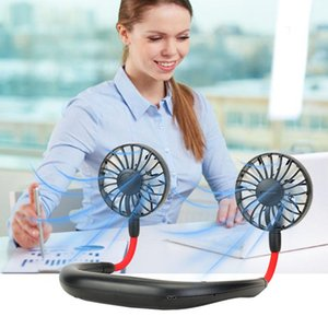 Hot Hanging Neck Fan USB Rechargeable Neckband Lazy Neck Hands Free Hanging Dual Cooling Mini Fan Sports 360 Degree Rotating In Stock