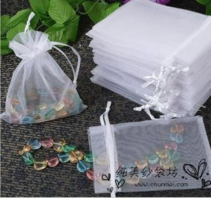 9x12CM White Organza Bags 100Pcs Lot Wedding&Christmas&Small Jewelry Packaging Pouchs & Gift Bags Wholesale