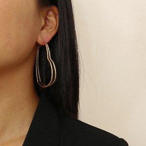 4Pair Set Creative Punk Gold Color Iron Hoop Earrings Fashion Geometric Heart Lover Earring For Women Boho Brinco Wedding Bijoux