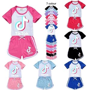 girls shorts sport suit tracksuits summer outfits set childrens baby boy clothes tracksuit Cute TIK TOK tiktok kids clothing G40Y46T