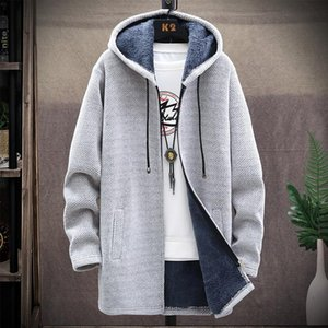 Men's Trench Coats Korean Jacket Hooded Casual Warm Knitted Sweater Mid-length Coat Cardigan Plus Size Fleece Urban Style Thicker