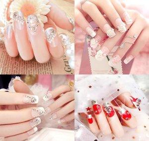 24 stücke lange gefälschte hochzeit nageldekoration glänzende strass glitter blume drücke auf falschen nails tipps ie84e 30tlj