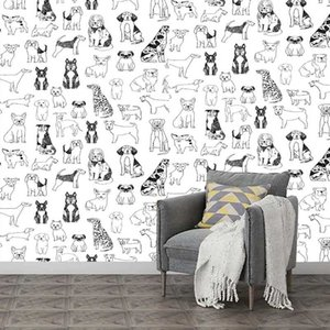 Wallpapers Black And White Dog Pattern Self Adhesive Wall Mural Removable Peel Stick Wallpaper For Kids Room Decor Stickers