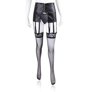 Gothic Faux Leather Panties Women Sexy Hollow Out Lace Up Briefs Wetlook Open Crotch Erotic Underwear Fetish Lingerie Women's
