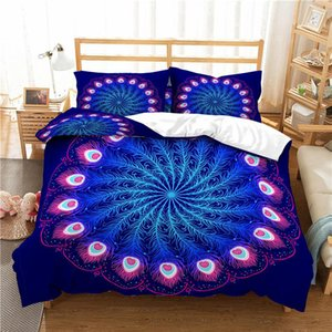 Home Textile Luxury 3D Peacock Feather Print 2 3Pcs Comfortable Duvet Cover PillowCase Bedding Sets Queen And King EU US AU Size