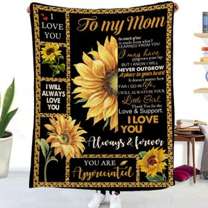 Blankets To My Mom Letter Design Quilt Blanket Flannel Mantas Home Textiles Bed Sofa Mother's Day Gift Droppshiping